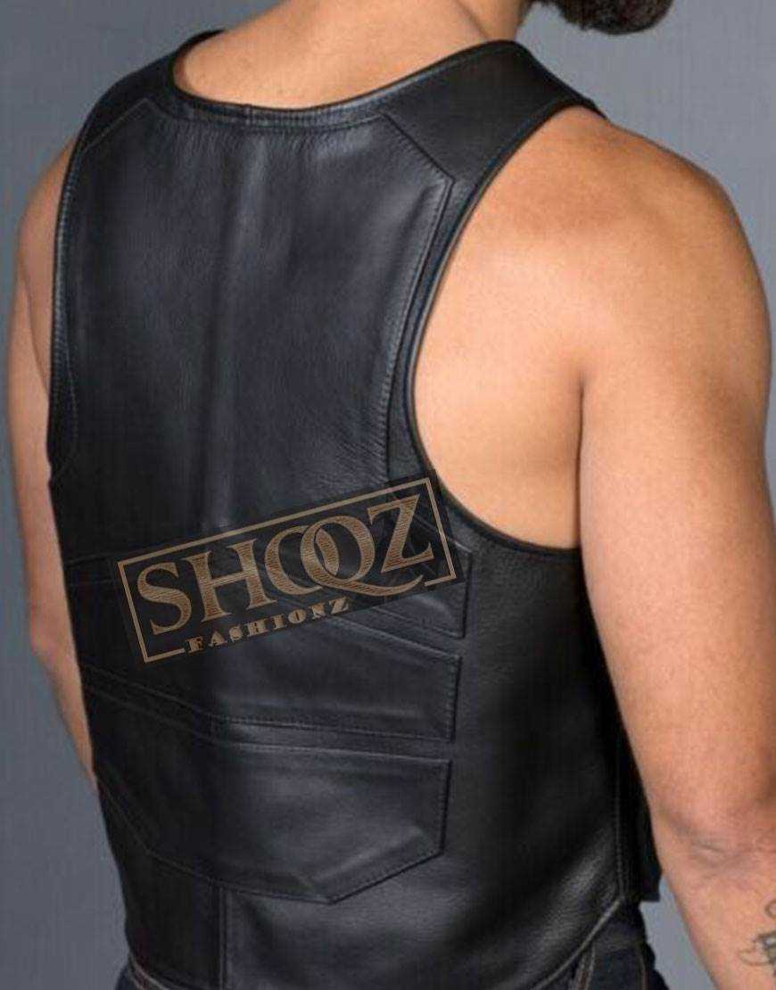Geometric Cropped Front Zip Opening Kink Top Leather Panel Vest