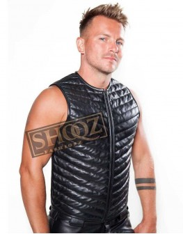 Men's Shirt Fetish Role Play Kink Racer Quilted Leather Vest