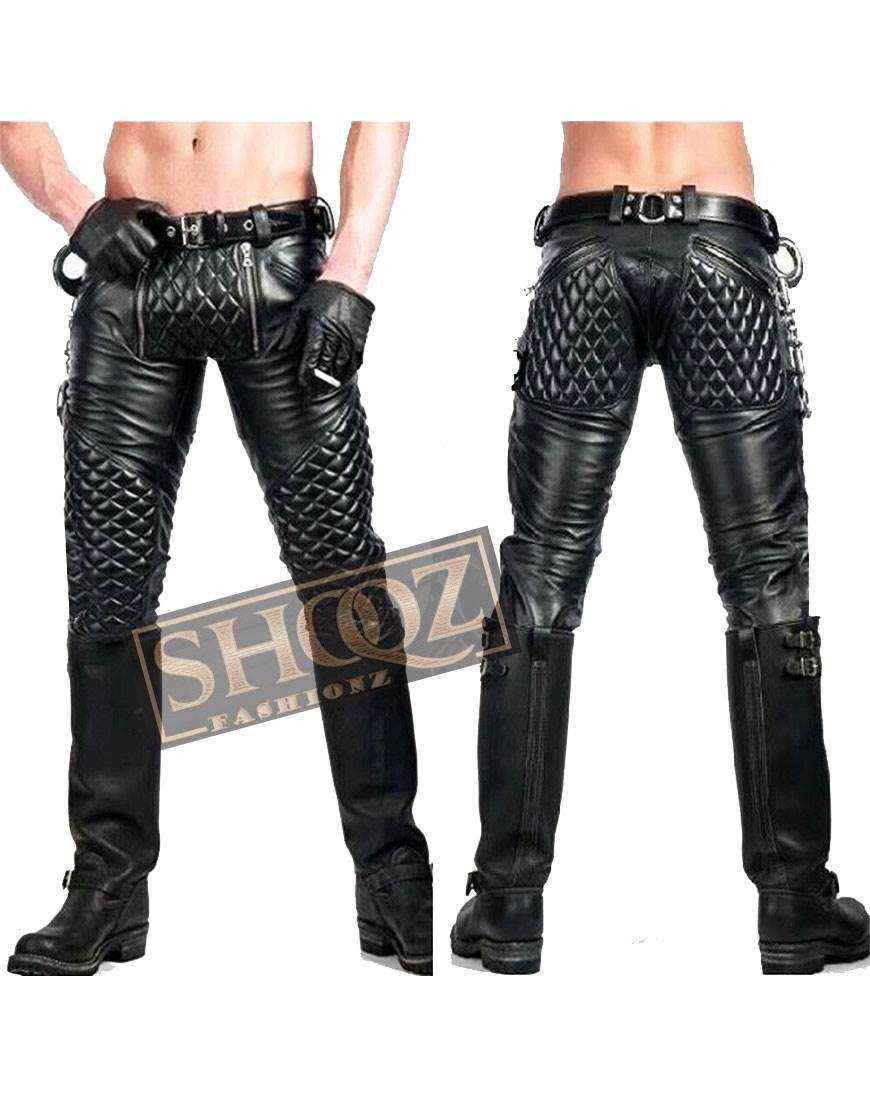 Mens Handmade Double Zip Lederhosen Lederjeans Leather Pant