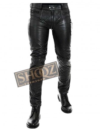 Motorbike Lederhosen Lederjeans Quilted Breeches Trousers Leather Pant