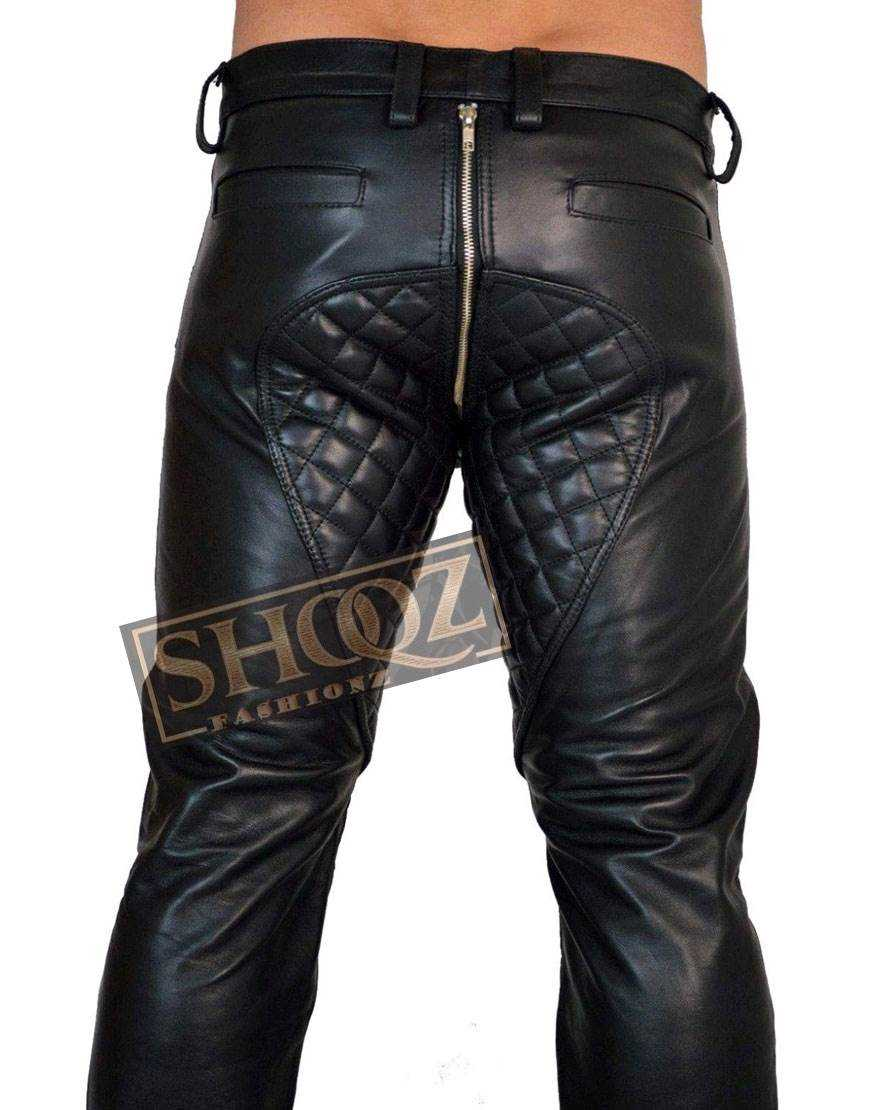 Mens Biker Leather Quilted Panel Interest Leather Pant