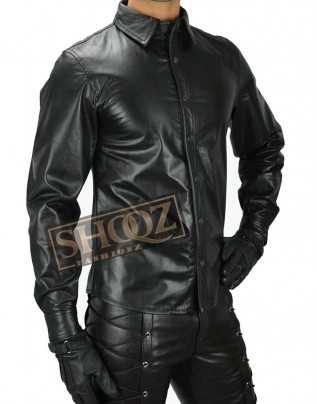 Mens Police Uniform Full Sleeves Genuine Black Leather Shirt