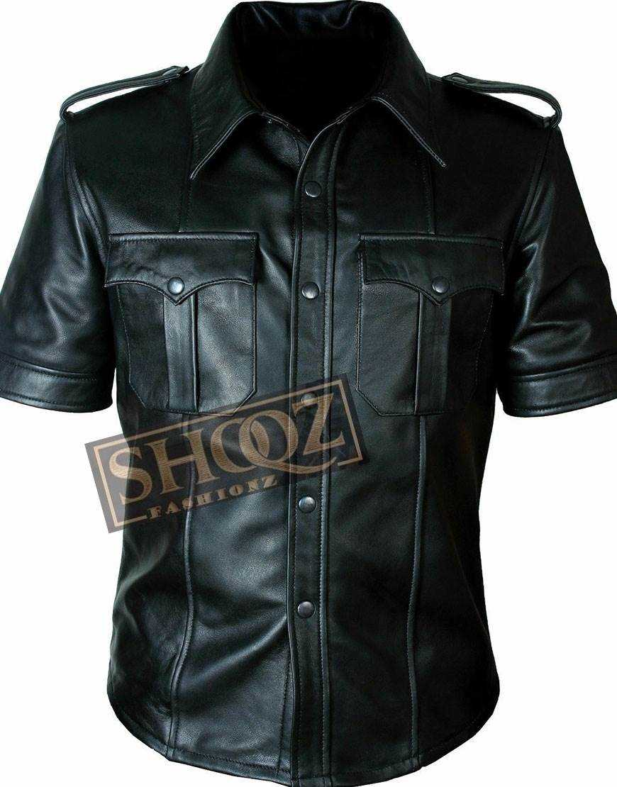 Police Uniform Mens Hot Genuine Black Leather Shirt