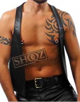 Gilet Open Front Hot Cropped Male Black Leather Vest