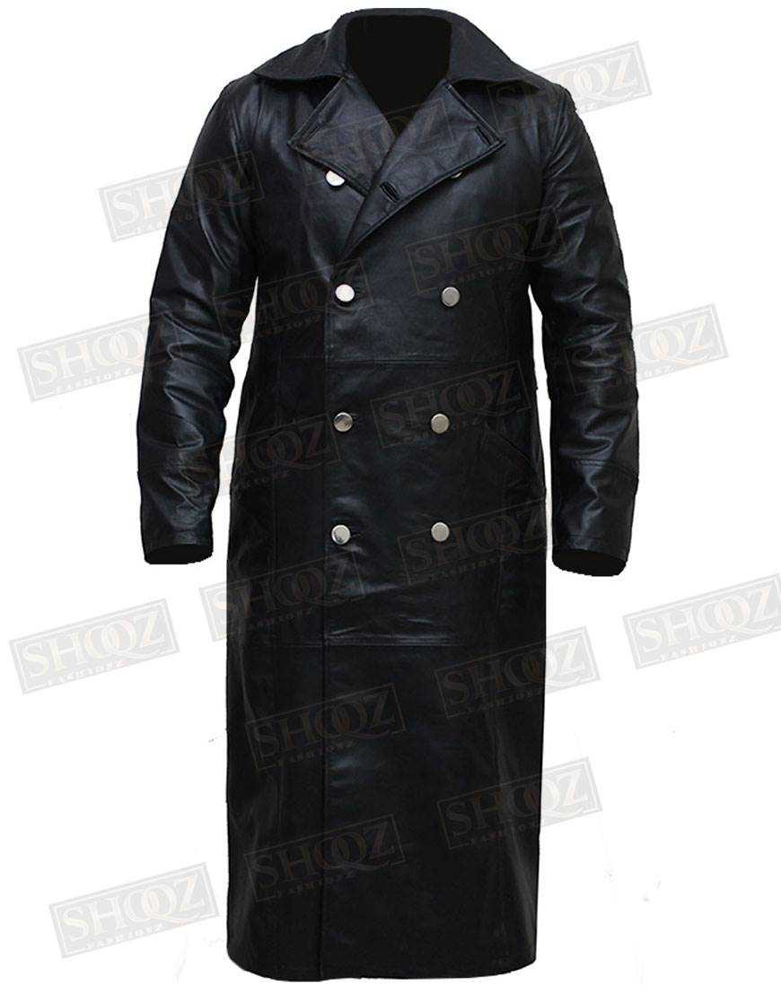 German Mens Classic Military Officer Black Faux Leather Button Trench Coat