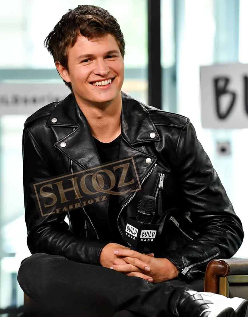 Baby Driver Ansel Elgort Black Leather Jacket