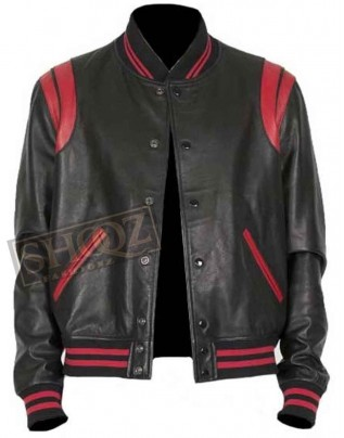 Black And Red Bomber Leather Jacket