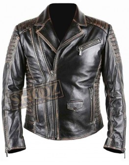 Brando Style Vintage Black Distressed Motorcycle Leather Jacket