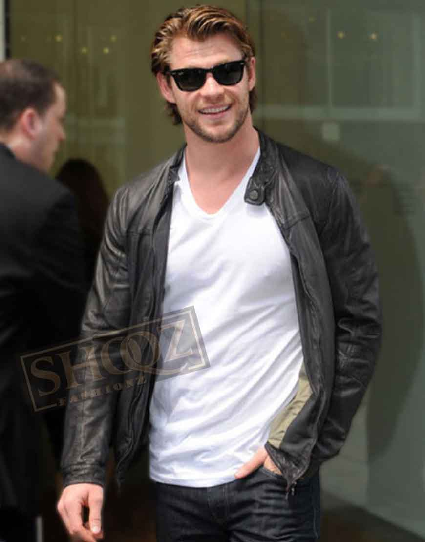 Chris Hemsworth Black Leather Jacket