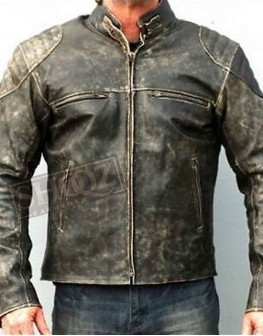 Hooligan Distressed Biker Leather Jacket