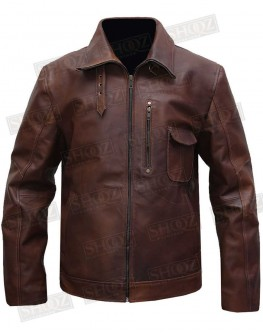 Cafe Racer Shirt Collar Brown Leather Jacket