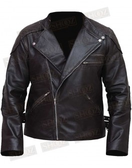 Men Skull Embossed Vintage Distressed Biker Leather Jacket