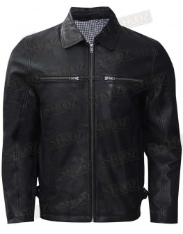 Slim Fit Shirt Style Collar Black Leather Jacket