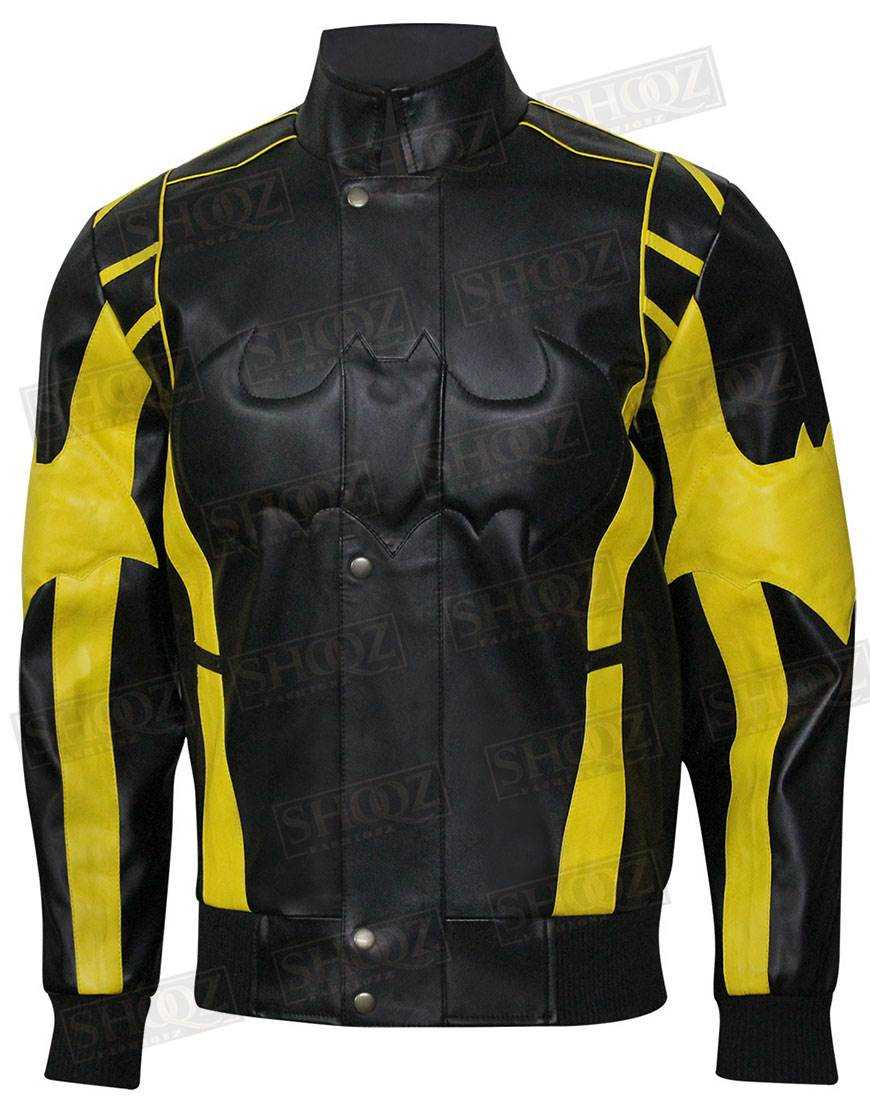 Batman Black Yellow Padded Motorcycle Leather Jacket