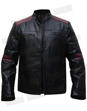 Cafe Racer Black Leather With Maroon Stripes Jacket