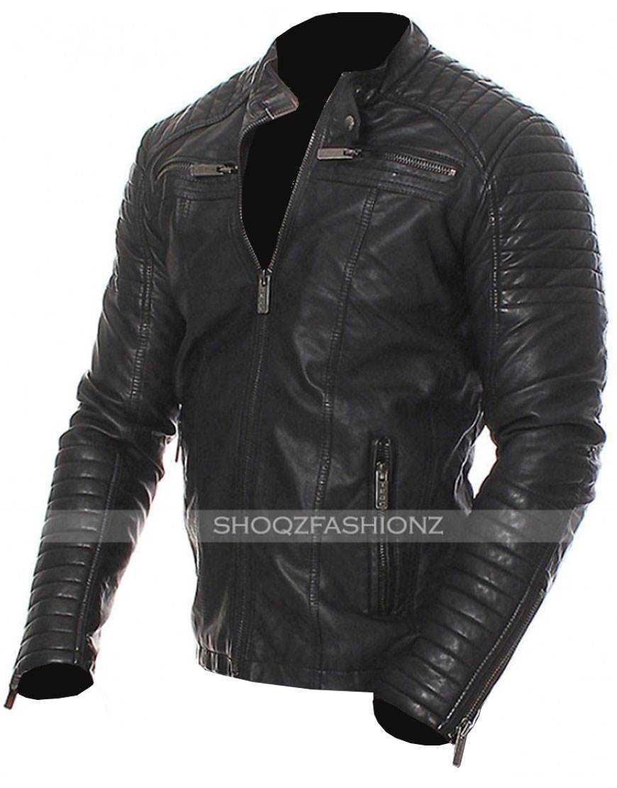Bodybuilders Slim Fit Quilted Biker Leather Jacket