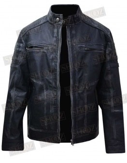 Antique Blue Distressed Vintage Cafe Racer Biker Jacket