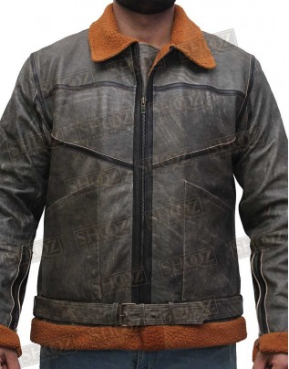 Ralph G1 Lauren Shearling Distressed Bomber Leather Jacket