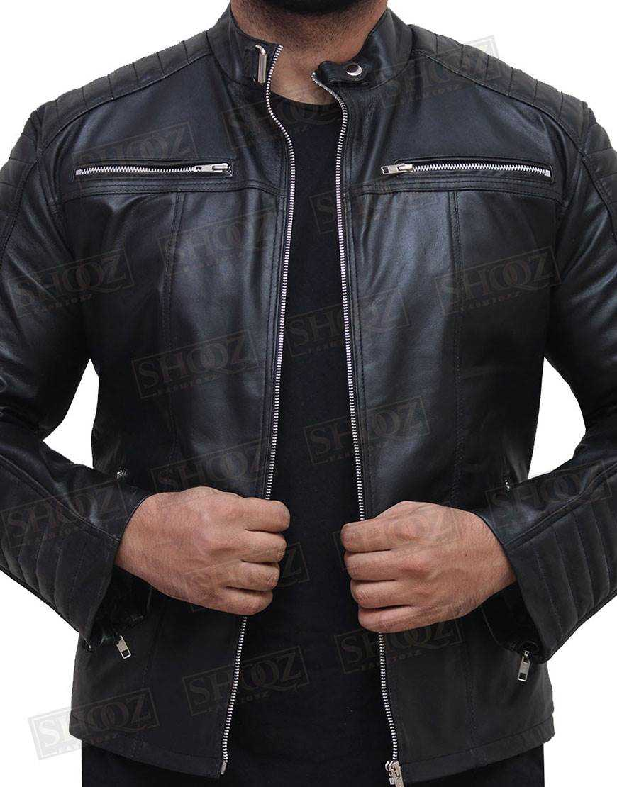 Vintage Cafe Racer Quilted Slim Fit Biker Leather Jacket