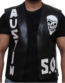 WWE Stone Cold Skull Sob Costume Leather Vest
