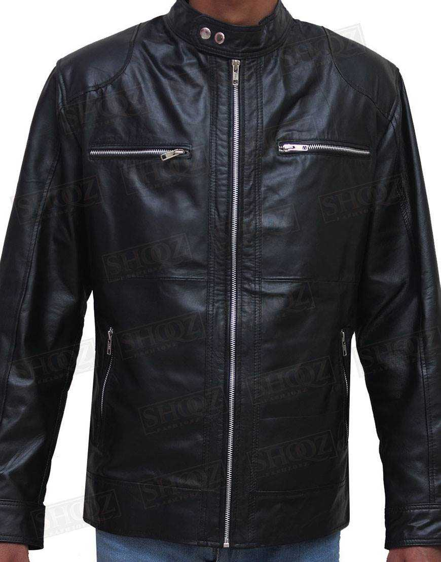Mens Slim Fit Biker Black Leather Jacket