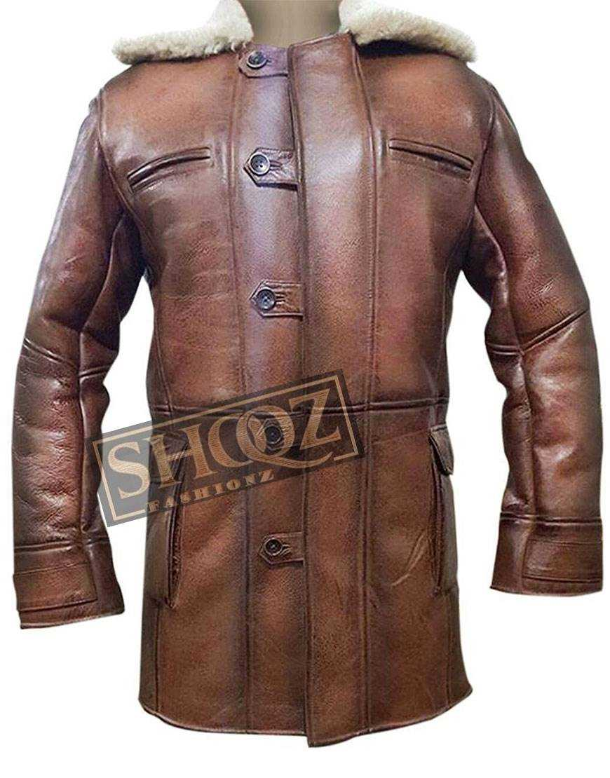 Dark Knight Rises Tom Hardy Fur Trench Leather Coat