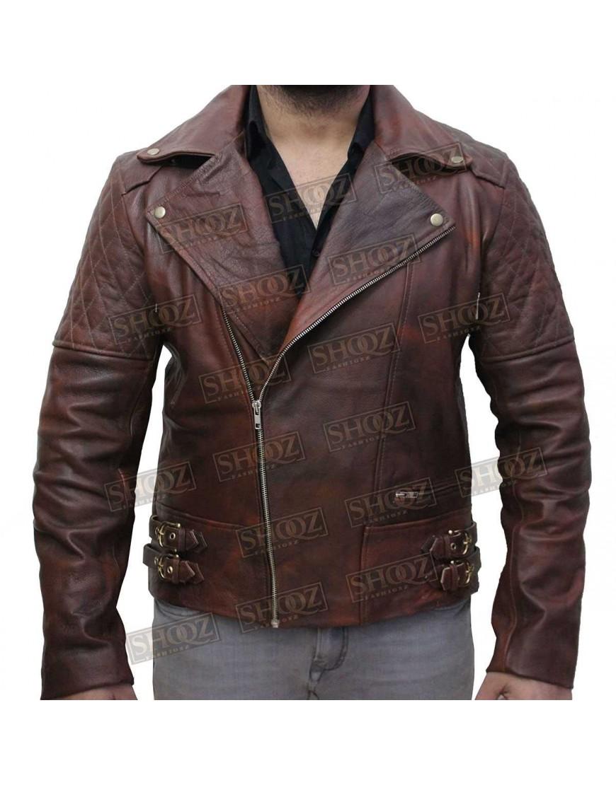 Mens Distressed Maroon Classic Diamond Leather Jacket