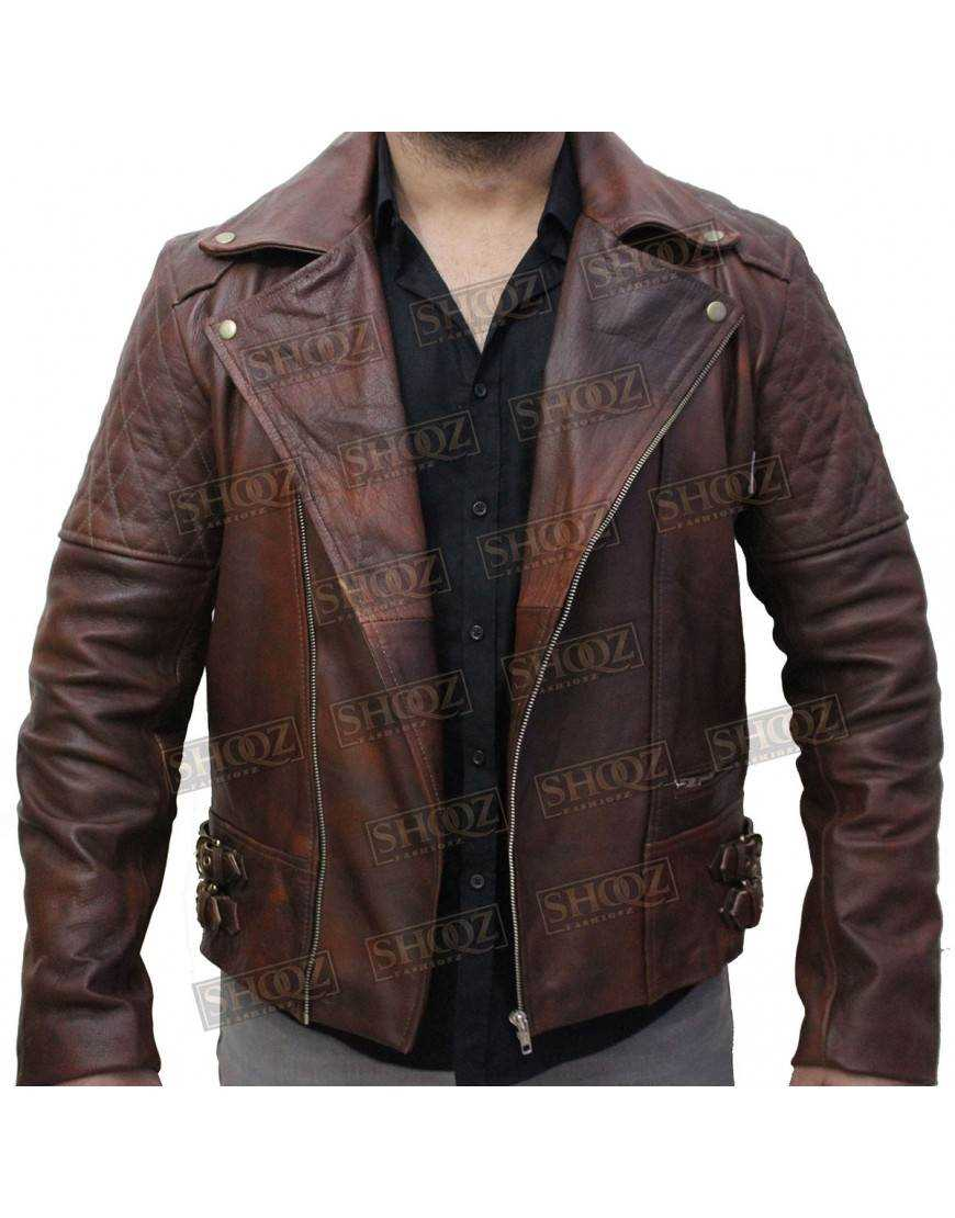 Classic Diamond Motorcycle Brown Distressed Leather Jacket