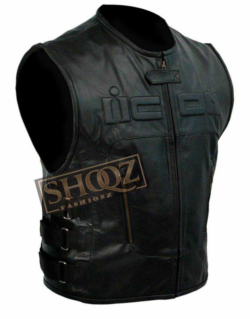 Skull Regulator Icon Biker Black Leather Vest