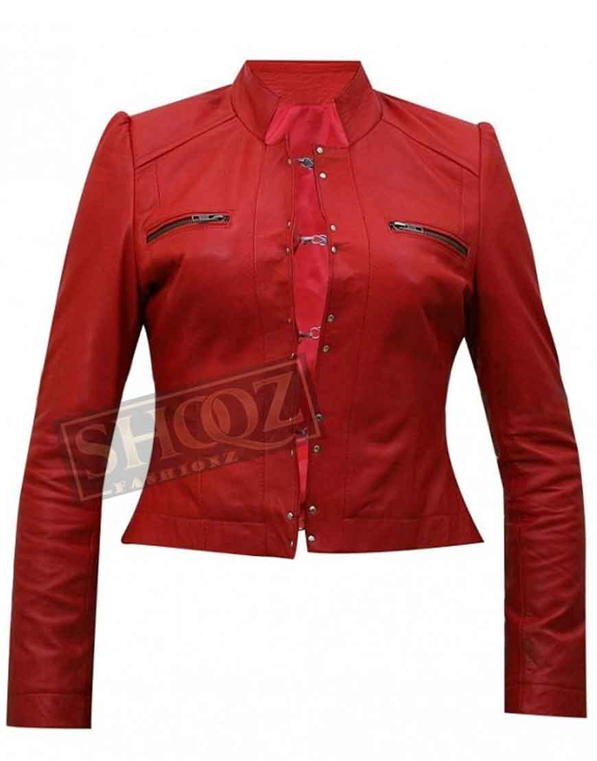 WWE Diva Aksana Red Leather Jacket
