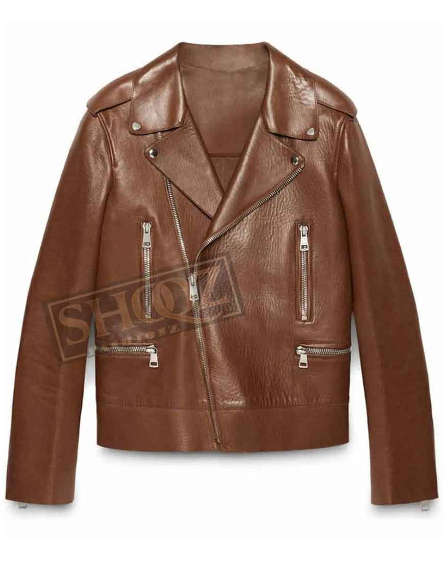 Blake Lively Brown Leather Jacket