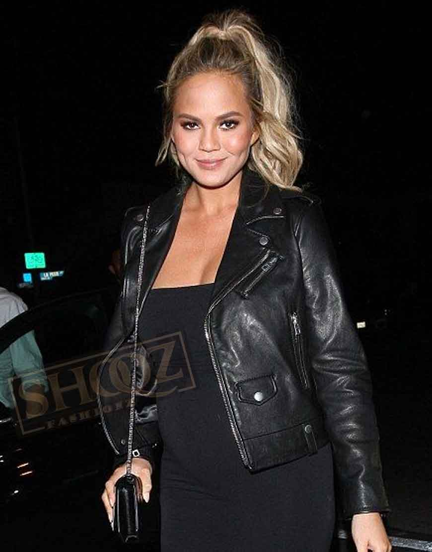 Chrissy Teigen Black Leather Jacket