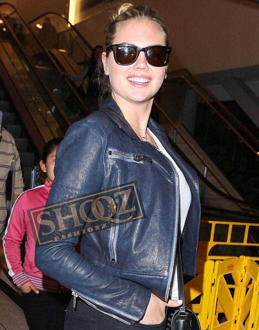 Kate Upton Blue Biker Leather Jacket