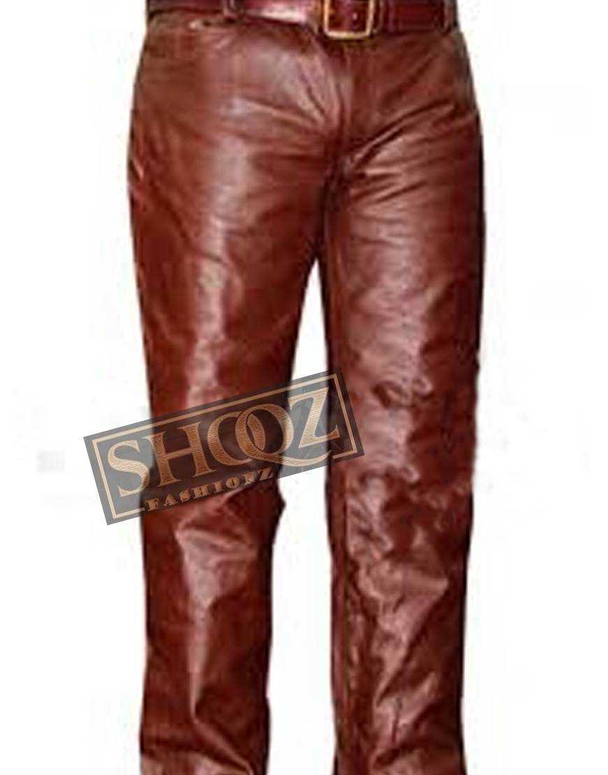 Brown Men Real Leather Pant