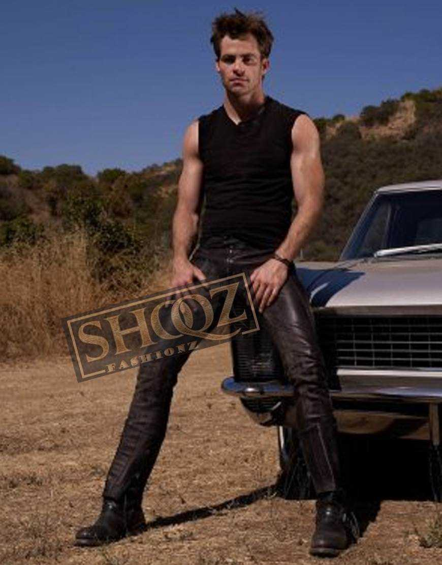 Chris Pine Straight Black Leather Pant