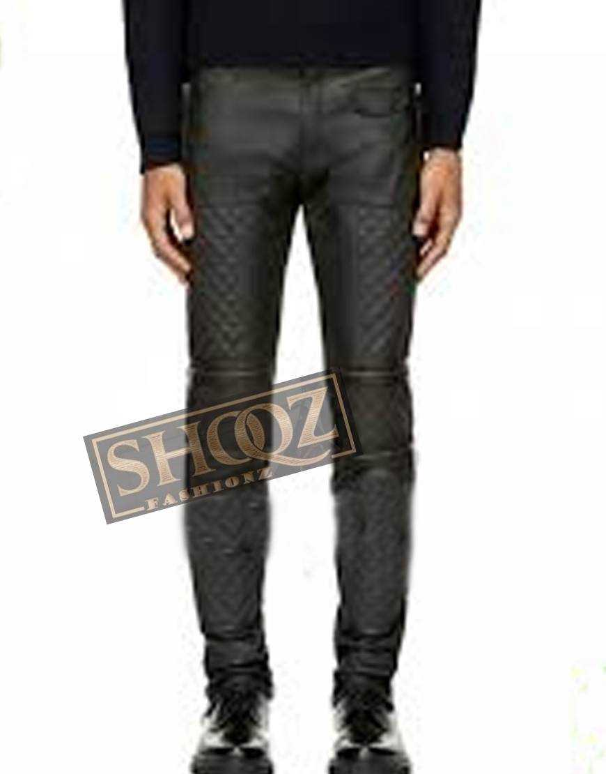 Men Dark Grey Zip Panel Quilted Leather Pant