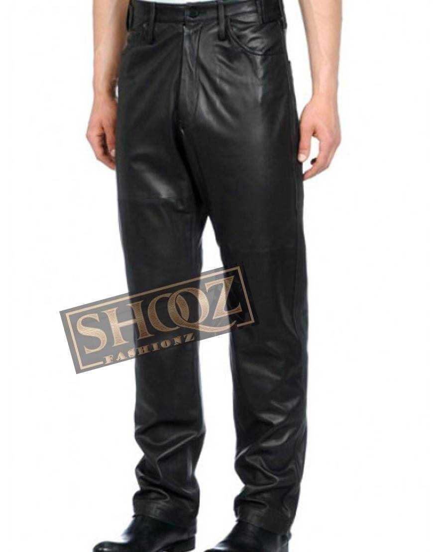 Men Designers Loose Fit Leather Pant