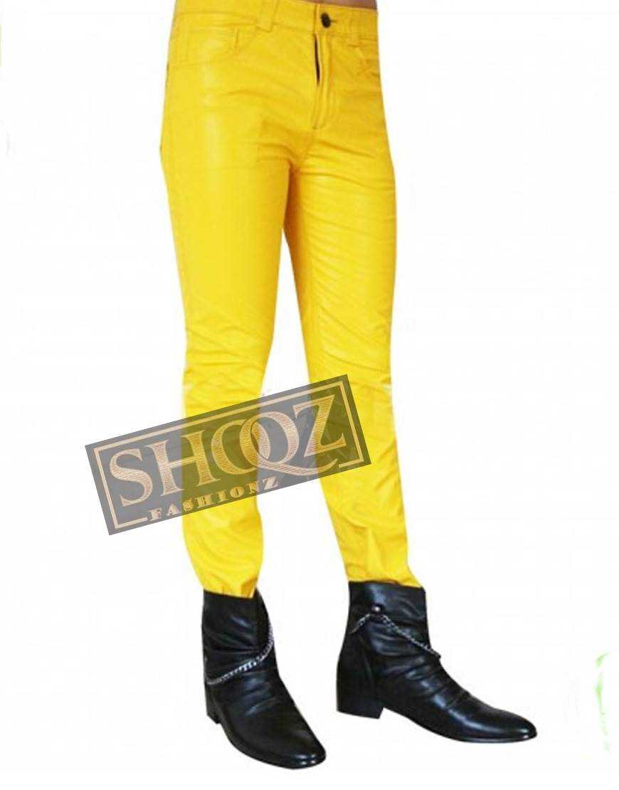 Singer Freddie Mercury Yellow Leather Pant