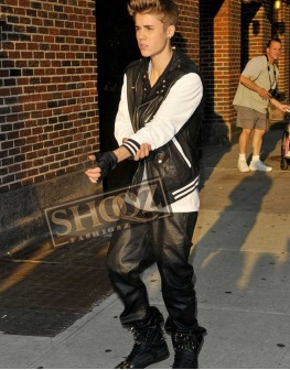Justin Bieber Travel Outfit Black Leather Pant