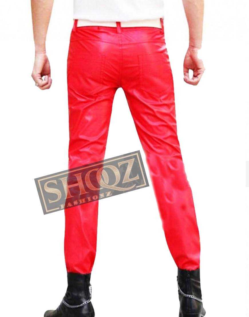 Men Red New Leather Pant