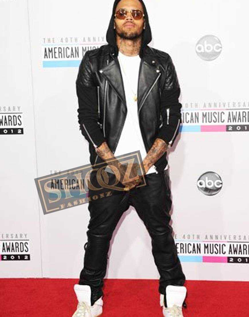 Singer Chris Brown Black Leather Pant