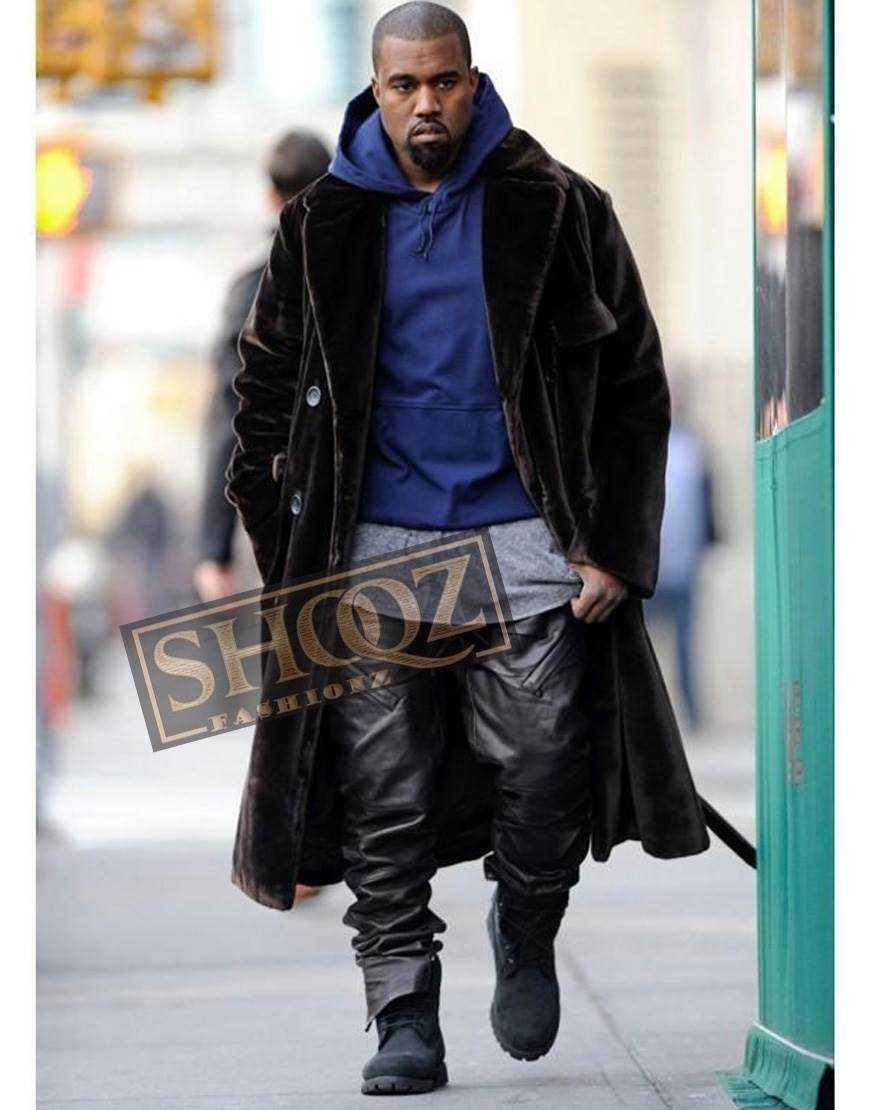 Singer Kanye West Black Leather Pant