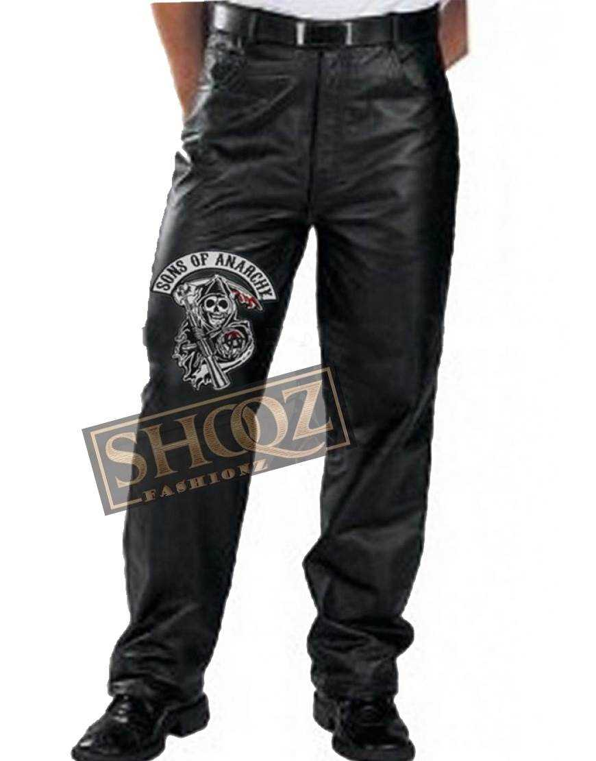 Sons Of Anarchy Charlie Hunnam Black Leather Pant