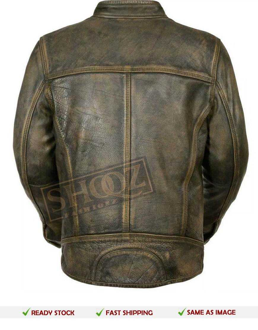 Cafe Racer Green Distressed Leather Jacket
