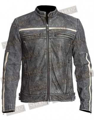 Chicago Super Fashions Cafe Racer Jacket Vintage Motorcycle Retro Moto Distressed Leather Jacket
