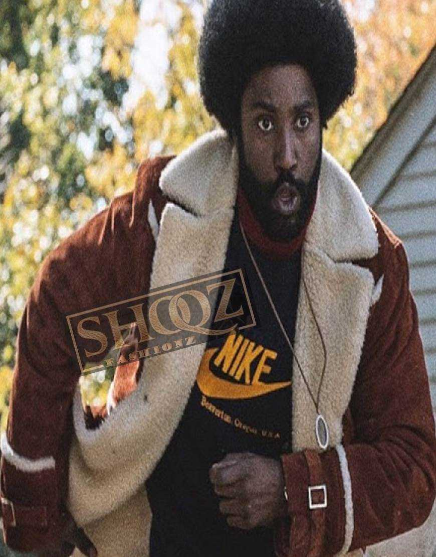 BlackkKlansman John David Washington Suede Fur Collar Jacket