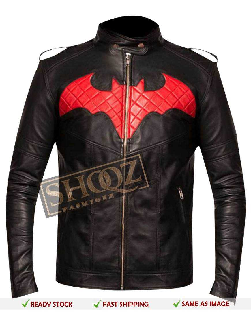 Batman Red Logo Black Leather Jacket