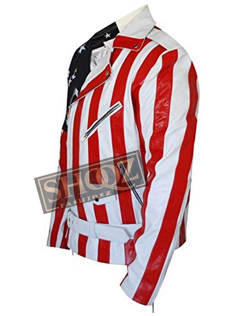 American Flag Biker Leather Jacket