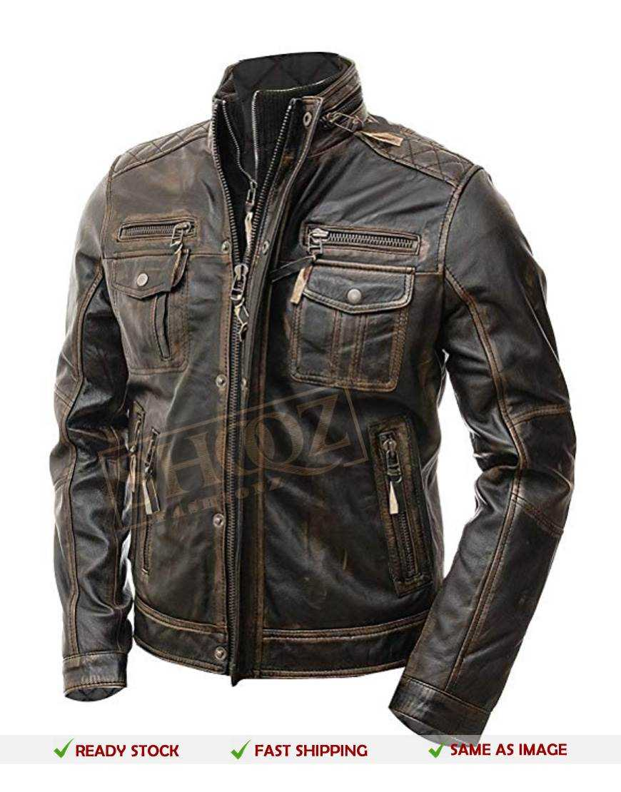 Cafe Racer Anarchy Dark Green Distressed Jacket