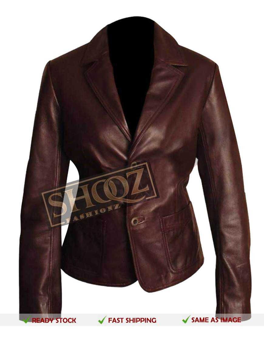 Dark Brown Slim Fit Women Leather Blazer Jacket